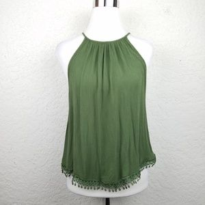 Divided H&M Women top size 14 tank olive green blo